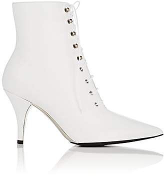 Calvin Klein Women's Leather Lace-Up Ankle Boots - White Size 8