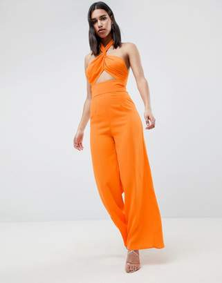 Asos DESIGN Cross Front Jumpsuit With Twist Neck And Wide Leg
