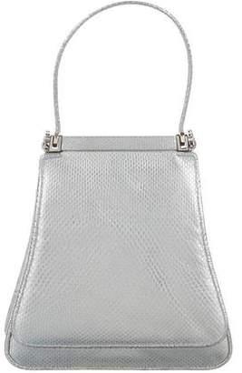 Judith Leiber Metallic Ring Lizard Handle Bag
