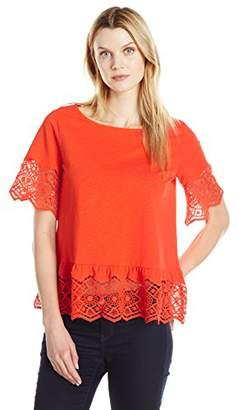 Joan Vass Women's Cotton Slub Tee with Lace Trim