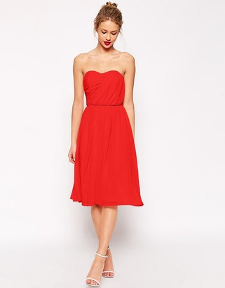 ASOS Ruched Full Midi Bandeau Dress $69 thestylecure.com