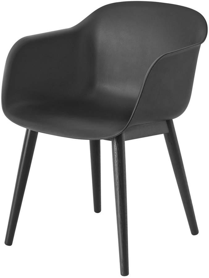 Muuto - Fiber Chair - Wood Base, Schwarz / Schwarz