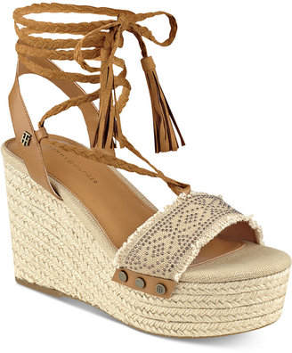 Tommy Hilfiger Lovelle Lace-Up Platform Wedge Sandals $89 thestylecure.com