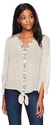 Democracy Women's Tie Front Top with Smocked Sleeve