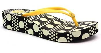 "Tory Burch Thandie"" Yellow, Cream and Black Wedge Flip Flop"