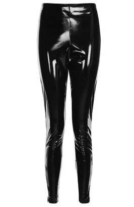 JanisRamone Womens Shiny Wet Look High Waisted Stretchy Vinyl Skinny Leggings Pants Trouser