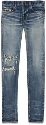 Saint Laurent Low-rise Skinny Jeans In Faded Blue Destroy Denim