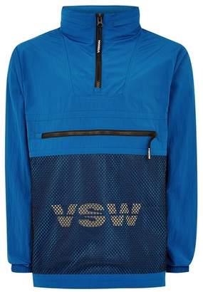 Topman Mens VISION STREET WEAR Blue Mesh Overhead Windbreaker Jacket