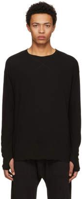 Isabel Benenato Black Long Sleeve Cross Stitch T-Shirt
