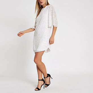 River Island White sequin swing dress