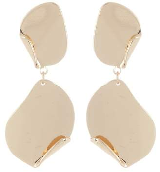 Halogen Curved Metal Double Drop Disk Earrings