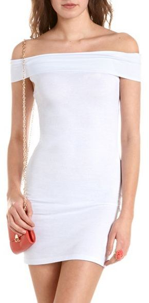 Charlotte Russe Fold-Over Neck Body-Con Dress