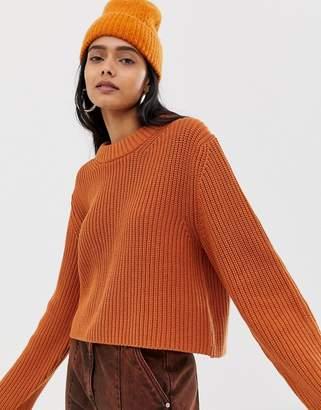 Weekday knitted sweater in dark orange