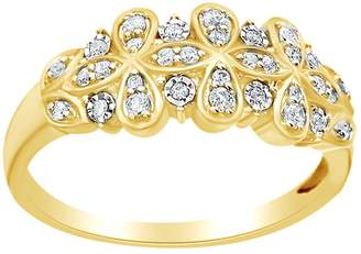 AFFY (0.2 Cttw) Round Natural Diamond Flower Anniversary Band Ring In 14K Solid Gold, Ring Size-4