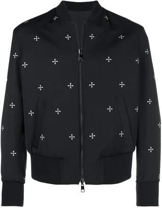 Neil Barrett cross print reversible bomber jacket