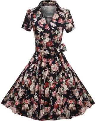 ACEVOG Vintage V-Neck 3/4 Sleeve 50s 60s Rockabilly Pinup Evening Dress