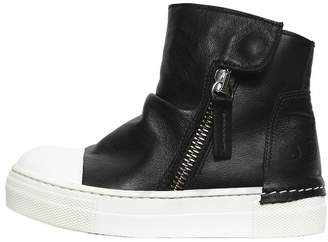 Two Tone Leather High Top Sneakers