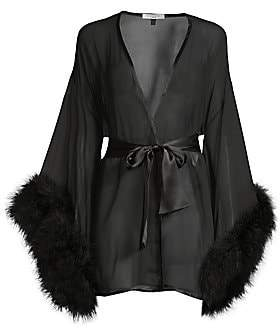 Gilda and Pearl Women's Marabou-Trim Silk Kimono