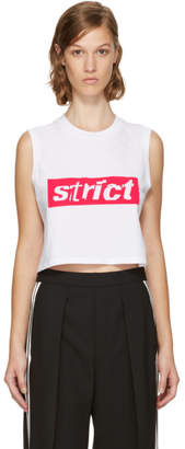 Alexander Wang White Sleeveless Crewneck Crop Strict T-Shirt