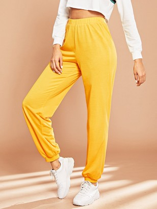 78df1a5940 Yellow Elastic Waist Women's Pants - ShopStyle