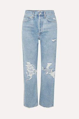 A Gold E AGOLDE - '90s Distressed High-rise Boyfriend Jeans - Mid denim