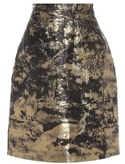 Oscar de la Renta Linen and silk-blend skirt