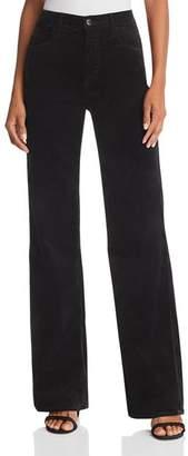 J Brand Joan High Rise Wide-Leg Velvet Jeans in Black