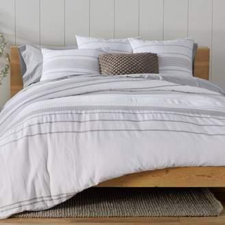 Coyuchi Organic Cotton Alpine White Rippled Stripe Duvet Cover, Full/Queen