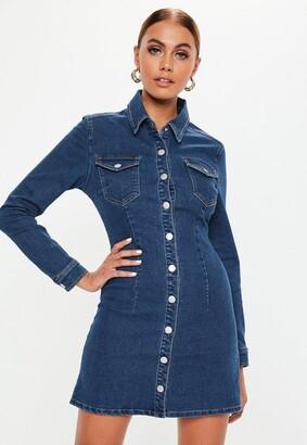 Missguided Blue Dark Wash Button Through Fitted Denim Dress
