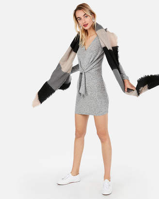 Express Cozy Jersey Knotted Wrap Dress
