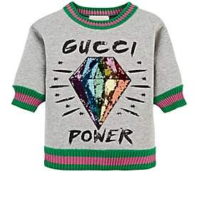 Gucci Kids' Embellished Cotton Sweatshirt - Gray