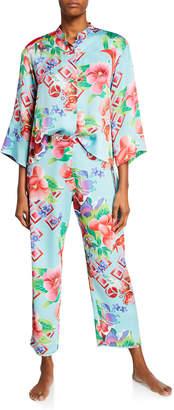 Natori Star Blossom Mandarin-Collar Pajama Set
