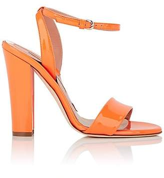 Brian Atwood WOMEN'S CRAWFORD PATENT LEATHER ANKLE-WRAP SANDALS - ORANGE SIZE 6.5