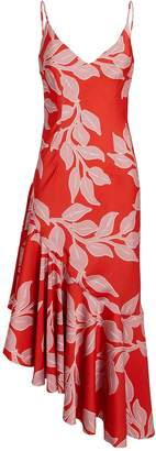 Patbo Leaf Print Midi Slip Dress