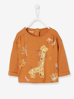 Vertbaudet Top with Large Giraffe Motif for Baby Girls