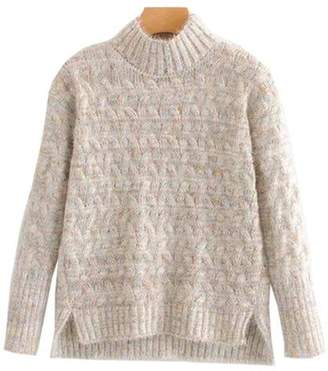 Goodnight Macaroon 'Tess' Confetti Cable Knit Funnel Neck Sweater (4 Colors)