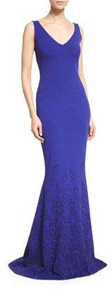 St. John Collection Embellished Knit V-Neck Gown, Indigo $2,495 thestylecure.com