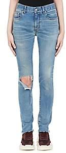 Balenciaga Women's Distressed Slim Straight Jeans - Blue
