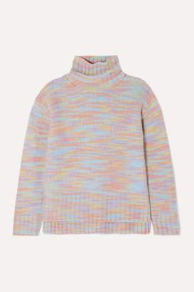 Sies Marjan Yuki Melange Merino Wool And Silk-blend Turtleneck Sweater - Pink