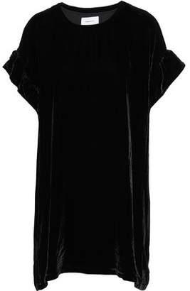 Current/Elliott The Janie Ruffle-Trimmed Velvet Mini Dress