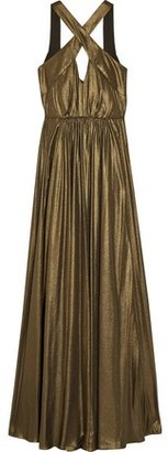 Halston Cutout Pleated Lamé Gown