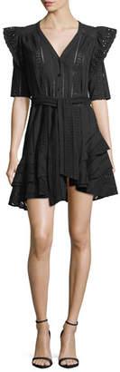 Veronica Beard Sima V-Neck Button-Front Eyelet Lace Dress
