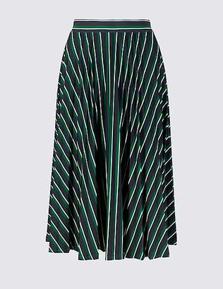 M&S Collection Striped Jersey Pleated Midi Skirt