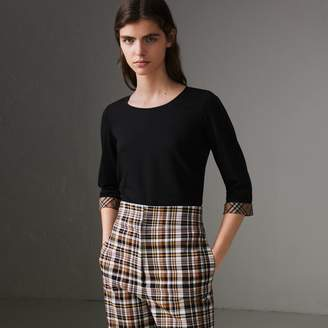 Burberry Check Detail Stretch Cotton Top