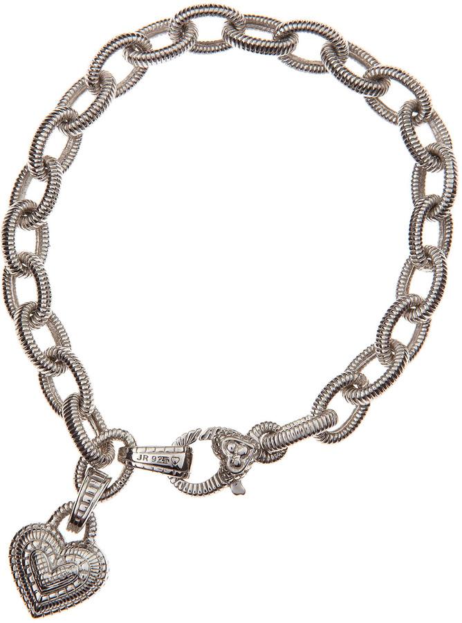 Judith Ripka Heart-Charm Chain Bracelet