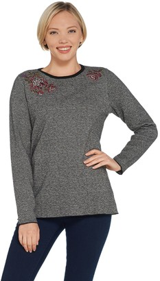 Denim & Co. Studio by Jacquard Round- Neck Sweater with Embroidery