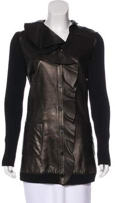 Valentino Leather-Paneled Ruffle Jacket w/ Tags