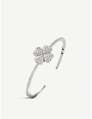 Folli Follie Heart2Heart silver-plated and crystal clover bangle