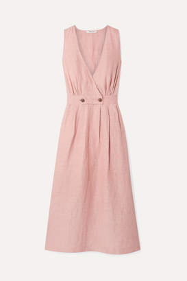 Madewell Wrap-effect Linen-blend Midi Dress - Blush