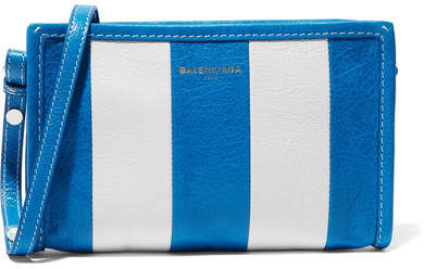 Balenciaga  Balenciaga - Bazar Striped Textured-leather Shoulder Bag - Blue